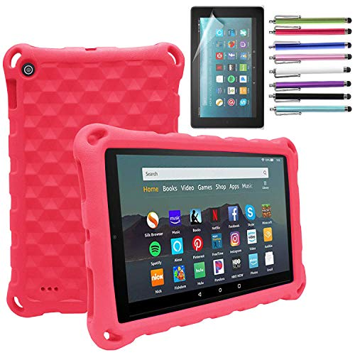 EpicGadget Fire 7 Case for Amazon Fire 7 inch Tablet (9th Generation, 2019 Released) - Lightweight Protective Shock Proof Kids Friendly Cover Case + 1 Screen Protector (Red)