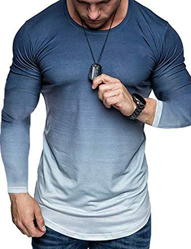 Mens Loose Hip Hop Fitness Gradient Gyms Bodybuilding Camisetas Delgadas Camiseta de Entrenamiento de Manga Larga Top (Blue, XXL)