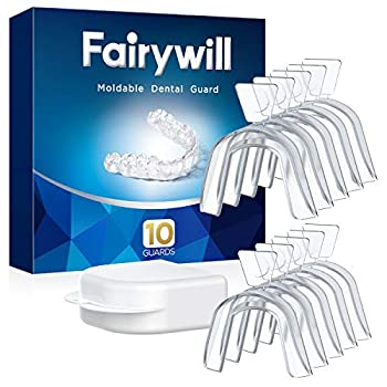 Fairywill Mouth Guard for Grinding Teeth 10 Packs BPA-free Night Guards for Teeth Grinding Bruxism Teeth Whitening Trays Sports Teeth Grinding Mouth Guard for Sleep Case Include