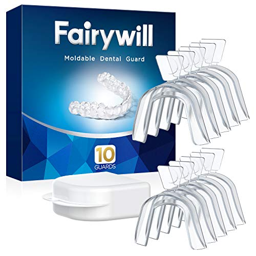 Fairywill Mouth Guard for Grinding Teeth, 10 Packs, BPA-free, Night Guards for Teeth Grinding, Bruxism, Teeth Whitening Trays, Sports, Teeth Grinding Mouth Guard for Sleep, Case Include