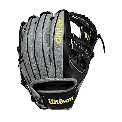 Wilson A2000 11.5-Inch SuperSkin Baseball Glove, Black/Grey, Left (Right Hand Throw)