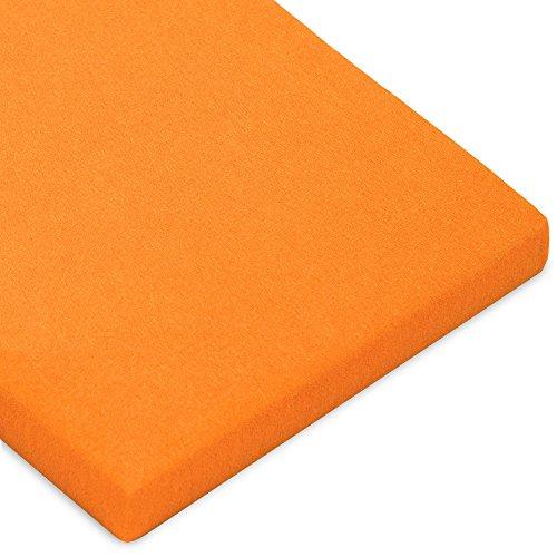 CelinaTex Casca Topper hoeslaken 180x200-200x220 cm oranje katoen spanbeddoek elastaan laken