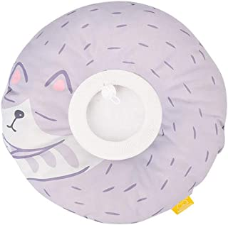 komii Komii猫小型犬エリザベスカラーソフトドーナツ型かわいいアニマル柄布製防水軽量傷口保護傷舐め防止引っ掻き防止柔らかい皮膚病去勢手術避妊(M、パープル猫)