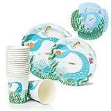 AllQuail Suministros de fiesta de cumpleaños de sirena: plato, taza y servilleta decoración de mesa para niñas pequeñas