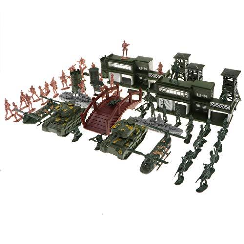FLAMEER 130-tlg Bausteine Militär Kunststoff Soldaten Armee Spielzeug Modell Figuren Dekor Spielzeug Set für Kinder