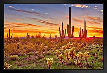 Colorful Sunset with Saguaro Cactus Sonoran Desert Arizona Photo Photograph Art Print Stand or Hang Wood Frame Display Poster Print 13x9