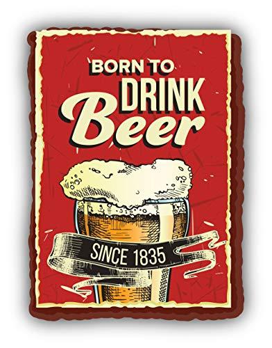 Born to Drink Beer Grunge Retro Emblem - Self-Adhesive Sticker Car Window Bumper Vinyl Decal Hochwertiger Aufkleber