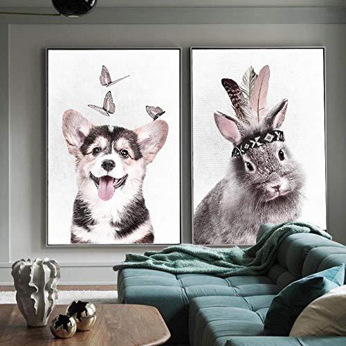 HYY-YY Animal Toile Peinture à l'huile Chien Lapin Canard Singe Affiche Enfants Chambre têtes de lit décor peintures oeuvre Photo 23.6\