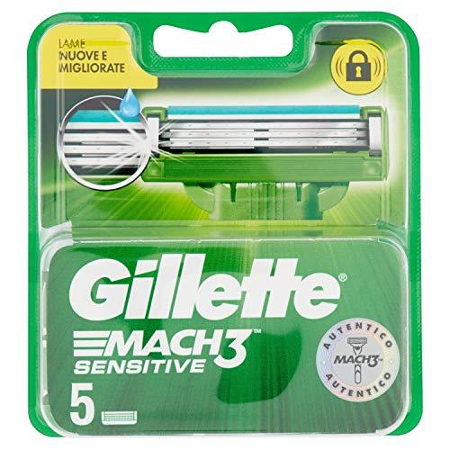 Gillette Mach3 Sensitive Lamette di Ricambio per Rasoio Uomo, Confezione da 5 Lamette di Ricambio