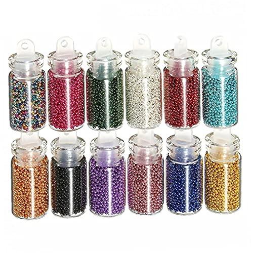 fregthf 12 Pcs 3D Colorido De Uñas Mini Perlas De Los Granos Caviar Manicura del Arte Decoraciones, con Vidrio Transparente Botella