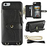 LAMEEKU Wallet Case Compatible with iPhone 6 Plus, iPhone 6S Plus Case Wallet Card Holder Case with Wrist Chain Crossbody Strap Zipper Case for iPhone 6 Plus/iPhone 6S Plus, 5.5 inches-Black