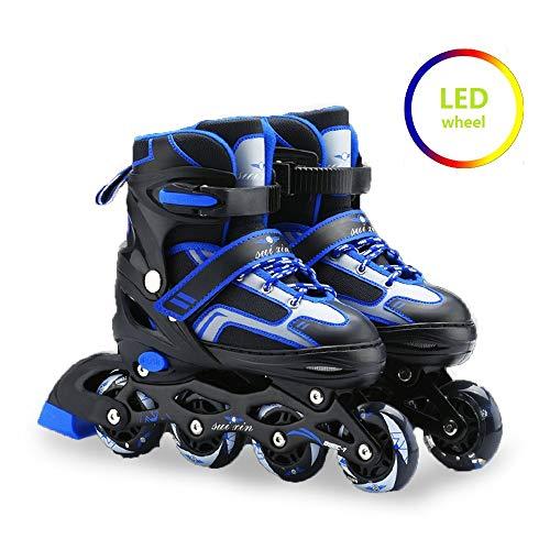 Inline Skates Kinder verstellbar, Inline Skates Damen, Outdoor-Blades-Rollschuhen für Mädchen und Jungen
