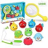 Loori Badewannenspielzeug Baby 11tlg Badespielzeug Wasserspielzeug mit 4 Spray-Wasser & Schwimmen...