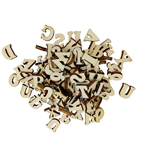 Sharplace 200pcs Adornos de Madera de Letra Alfabética A a Z DIY Accesorio Decorativo de Álbum de Recortes Cardmaking