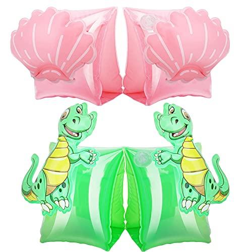 Nesloonp - Bandas de flotador para niños, 2 brazaletes de natación inflables, alas de agua, brazaletes de natación, para piscina niñas de 2 a 5 años y hasta 60 libras (vieiras, cangrejos)