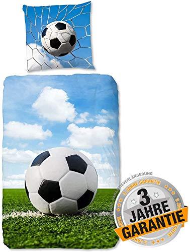 Aminata Kids - Biber Bettwäsche Fussball 135-x-200 cm Baumwolle Jungen, Jungs & Jugendliche - Fussball-Fan-Motiv mit - Teenager-Kinder-Bettwäsche-Set in grün blau - weich und kuschelig