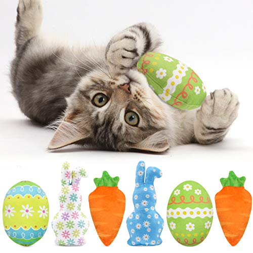 CiyvoLyeen Easter Spring Cat Catnip Kitten Chew Bite Toys Interactive Pillows Teeth Plush Plaything for Cat Gift Cat Lover Funny Pets Supplies Set of 6
