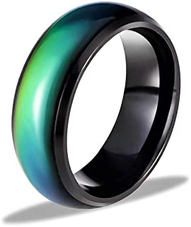Ello Elli 8MM Comfort Fit Stainless-Steel Color Changing Mood Ring Silver/Black Tone