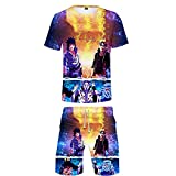 MLX-BUMU Naruto Verano Anime Element Camiseta 3D Impresión Hombres O-Neck T-Shirt Deportes Hombres Pantalones Cortos Traje Playa Pantalones XXL