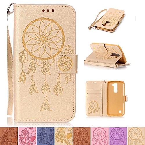 LG K7 / K8 Case, LG Tribute 5 Case, LG Escape 3 Case, Firefish [Kickstand] PU Leather Flip Folio Emboss Style Wallet Case with Strap Magnetic Buckle for LG K7/ K8/ Tribute 5/ Escape 3 - Net-J