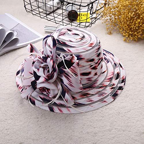 ASIG Kant zomer hoed dames de breedgerande zonnehoed bruiloft kerk zee strand hoed vrouwen gestreepte boog dames hoed
