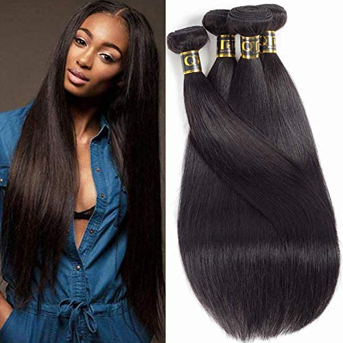 "QTHAIR 12A Brazilian Virgin Hair Straight Human Hair Bundles(14"" 16"" 18"" 20"",400g,Natural Black) Brazilian Straight Hair Unprocessed Brazilian Hair Weave Bundles"