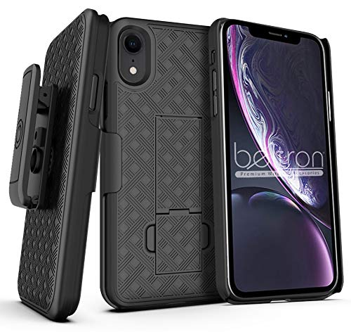 Case with Belt Clip Holster for iPhone X, iPhone XS, BELTRON Slim Protective Belt Clip Slider Case (Shell/Holster Combo) with Built-in Kickstand