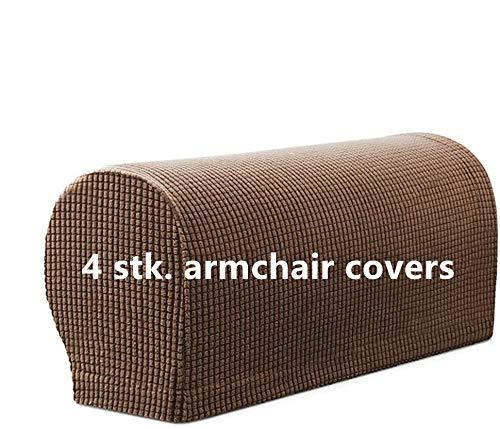 4 STK. Elastische Armlehnenbezüge, Armkappen, für Sessel, Sofa, Sessel, Couch Stretchy Armlehnenbezug, bequem, elastisch, wasserfest, Couch Armlehnenschoner (Kaffee)