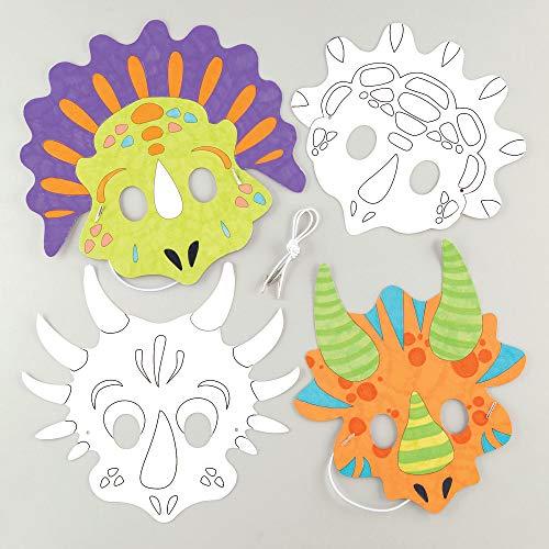 """Baker Ross Masken """"Dinosaurier"""" zum Ausmalen (8 Stück) – Masken mit verschiedenen Dinos für Kinder zum Gestalten und Verkleiden"""