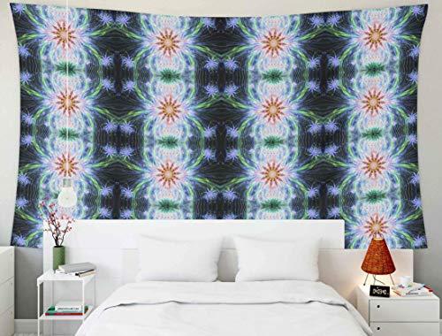 Home Decor Tapestry, Home Tapices para colgar en la pared Arte para D & eacute; cor Living Room Dorm Background con flores psicodélicas como estrellas en una cuadrícula conectada por varios arcos y on
