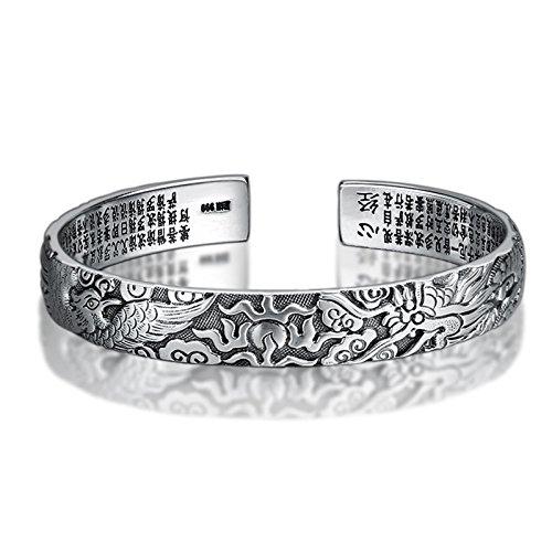 Aeici Argento Bracciale per Uomo Braccialetto Dragon Heart Sutra Bracelet