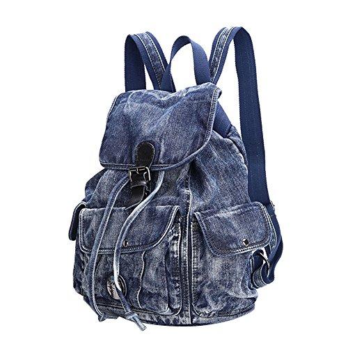 Genda 2Archer Unisex Informal Jeans Canvas Rucksack Universitäts Studenten Tasche (Blau)