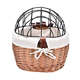 LOPADE Bicycle Wicker Pet Basket Dog Carrier Front Removable Bicycle Handlebar Basket for Dogs and Cats Excellent