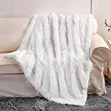 Super Soft Plush Faux Fur Blanket 50' x 60',Fluffy Cozy Comfy Furry Warm Throw Blanket Sherpa Fuzzy Fleece Thick Lightweight Blanket for Bed Chair Sofa Couch Bedroom(White, Throw50 x 60')
