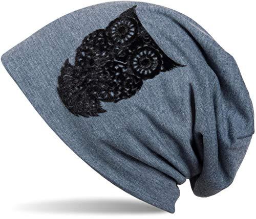 styleBREAKER Gorro Beanie clásico con búho en Estampado Flocado, Mujeres 04024040, Color:Azul Jean