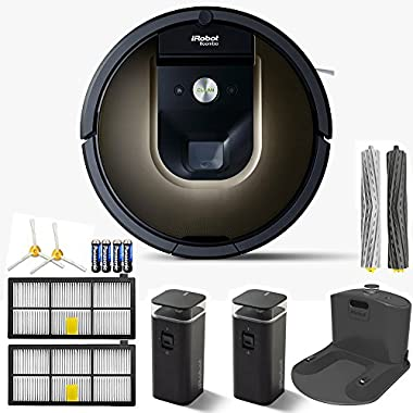iRobot Roomba 980 Vacuum Cleaning Robot + 2 Dual Mode Virtual Wall Barriers (With Batteries) + Extra Side Brush + High Efficiency Filter + More