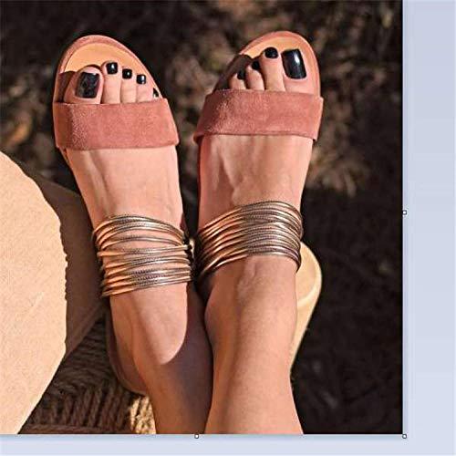 Slippers in de badkamer schuif open teen,Platte antislip strandschoenen, zomerse damespantoffels in maat Plus-Pink_41
