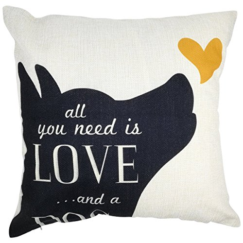 Arundeal Decorative Throw Pillow Case Cushion Cover, 18 x 18 Inches, with Saying All You Need is Love and A Dog Black Puppy for Dog Lover Gift Bed Sofa Couch Decor