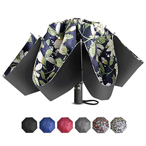 Brainstorming Inverted Windproof Travel Umbrella, Automatic Open&Close Compact Umbrella with Ergonomic Handle,Teflon Umbrella with 8 Fiberglass Ribs,Waterproof&Windproof-Lily