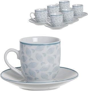 Home Gadgets Juego Caf/é 6 Tazas de 90 ml Floral Market Ceramica