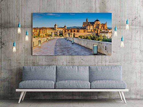 Oedim Cuadro Lienzo Impresión Digital Urbano Puente Romano Cordoba | Multicolor | Cuadro Lienzo 150 x 60 cm | Lienzo Enmarcado Ligero, Resistente y Económico