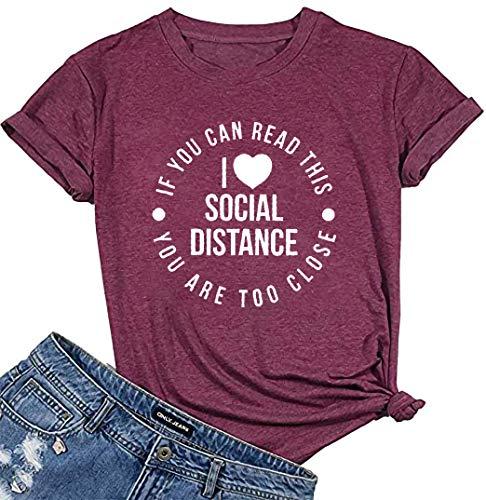 I Heart Social Distancing Shirt Women Quarantine Shirt Casual Short Sleeve Tee Top Funny Letter Print T Shirt Red