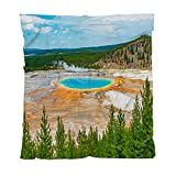 Spring Yellowstone Blanket Lightweight Soft Flannel Grand Prismatic Spring Yellowstone Wyoming Throw Blanket Bed Blanket Suitable for Baby Children Adult Indoors Or Outdoors 60Wx80L Inch