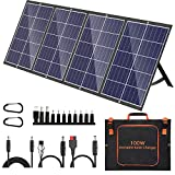100W Portable Solar Panel Kit with Stand Foldable Solar Panel Charger for Jackery Power Station, 8mm Goal Zero Yeti Power Station, Suaoki Portable Generator, Phones, Laptop, with QC 3.0 USB DC Ports
