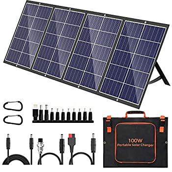 100W Portable Solar Panel Kit with Stand Foldable Solar Panel Charger for Jackery Power Station 8mm Goal Zero Yeti Power Station Suaoki Portable Generator Phones Laptop with QC 3.0 USB DC Ports