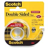 3M Double-Sided Tape with Dispenser, Permanent, 1/2 X 250 Inches, Clear, 12 Pack