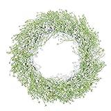 U'Artlines Couronne de fleurs artificielles Gypsophila pour porte de maison, fenêtre, décoration de mariage, 40 cm