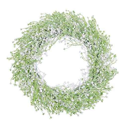 U'Artlines Künstlicher Gypsophila Blumenkranz für Haustür Wandbehang Fenster Hochzeitsfeier Dekoration 40cm