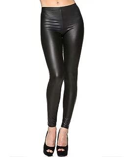 Da Donna in vinile con cerniera anteriore vita alta PU Lucido Look Bagnato Leggings Pantaloni Attillati Pvc