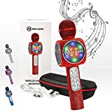 NEVLERS Karaoke Bling Microphone with Wireless Bluetooth Speaker, Voice Changer and Colorful LED Lights, Easy to Use Portable Karaoke Machine for Kids and Adults - RED